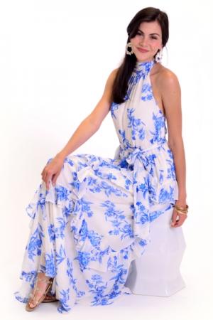 Blue China Tiered Maxi