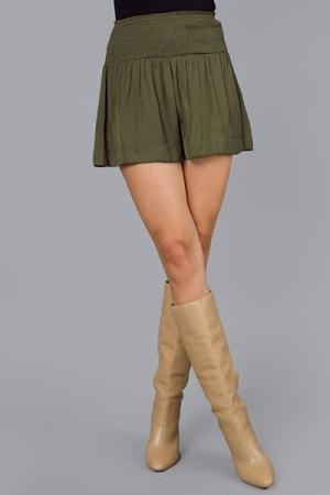 Silky Smocked Shorts, Olive