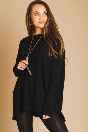 Boxy Sweater Tunic, Black