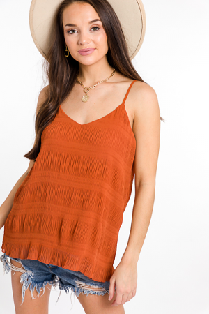Crinkle Texture Cami, Clay