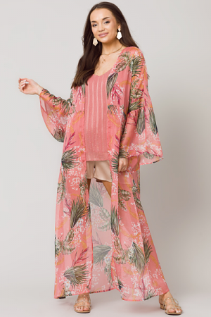Tropical Belted Kimono, Rose