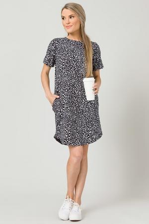 Seeing Spots Knit Dress, Black