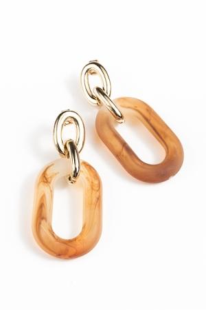 Acrylic Oval Link Earrings, Brown