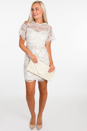 Sweetheart Embroidered Dress, Cream