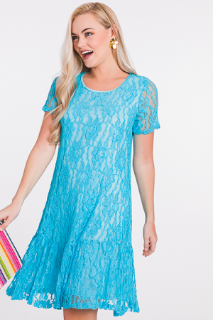 Lacy Grace Dress, Aqua