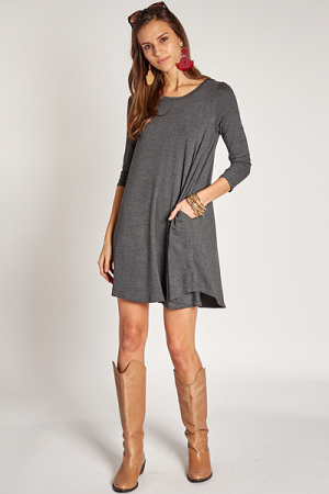 Keep It Cool T-Shirt Dress, Charcoal