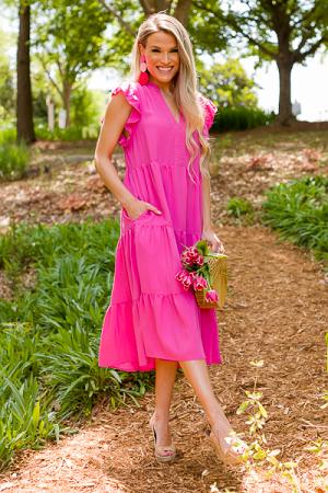 Mid Way Dress, Hot Pink