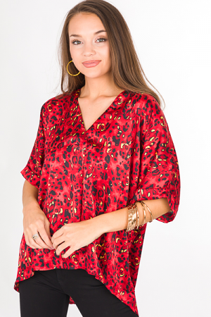 Pleat Blouse, Red Animal