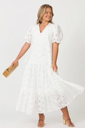 Lace Flowers Maxi, White