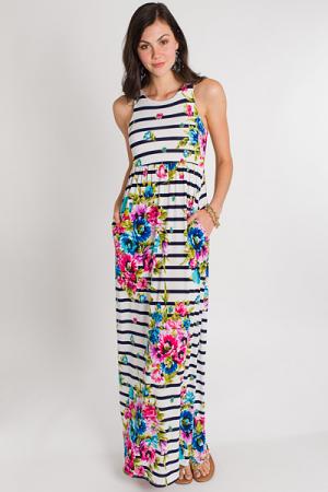 Mix Print Maxi, Stripe Floral