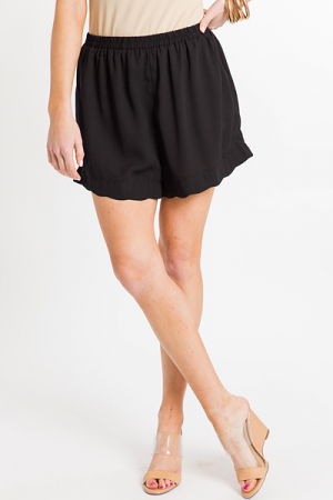 Scallop Trim Shorts, Black