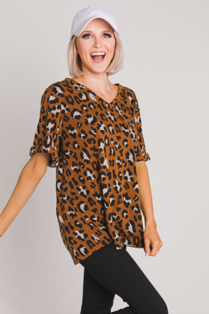 Cheetah Pocket Tee, Caramel