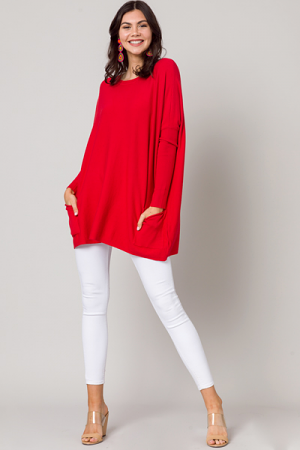 Double Pocket Sweater, Scarlet