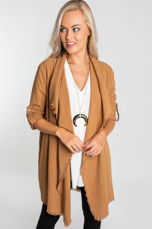 Afternoon Latte Frayed Cardi