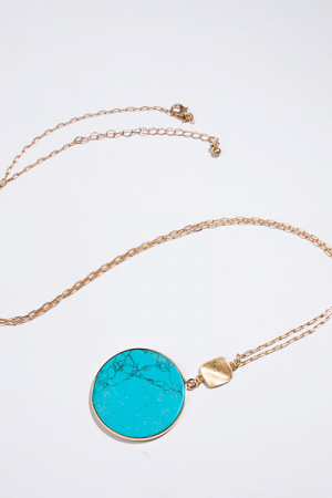 Circle Pendant Necklace, Turquoise