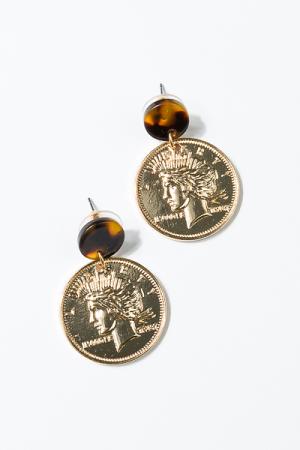 Tortoise Coin Post Earring