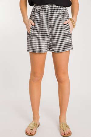 High Waist Gingham Shorts, Black