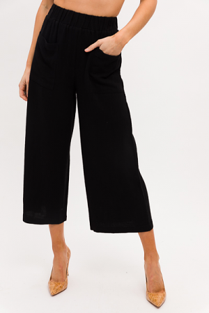 Linen Pocket Pants, Black