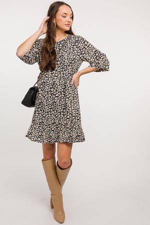 Zoe Leopard Dress, Black
