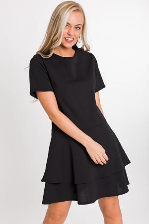 Tiered Skirt Dress, Black