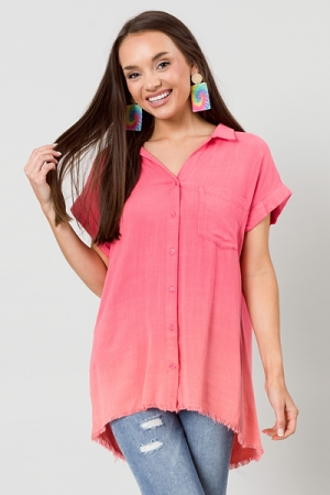 Ombre Button Down, Hot Coral