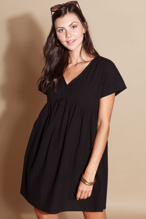 Steph Babydoll Dress, Black
