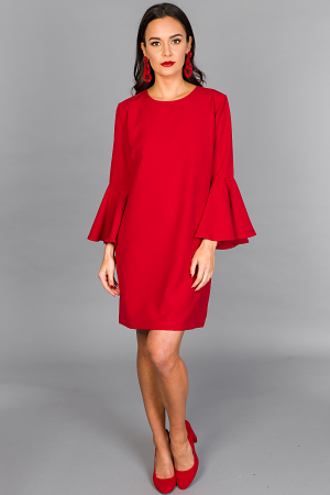 Brooks Bell Sleeve Dress, Red