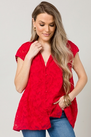 Textured Leaves Blouse, Tomato