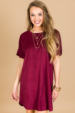 Simple Suede Dress, Burgundy