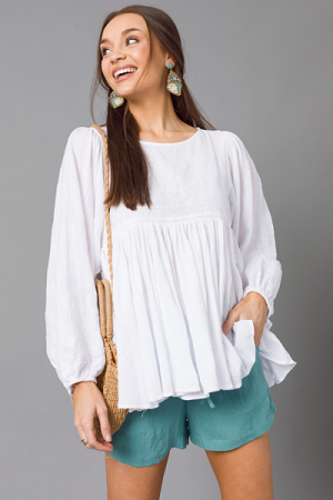 Delicacy Babydoll Top, White