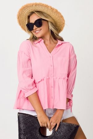 Babydoll Button Up, Cool Pink