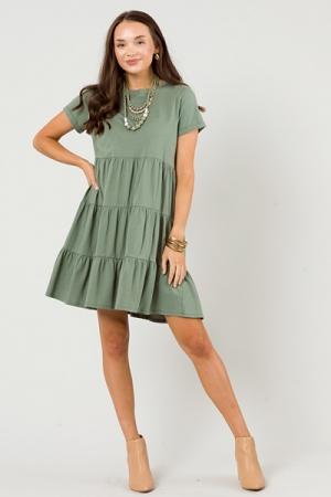 Cotton Knit Tier Dress, Olive