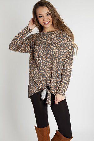 Tie Front Leopard Tunic