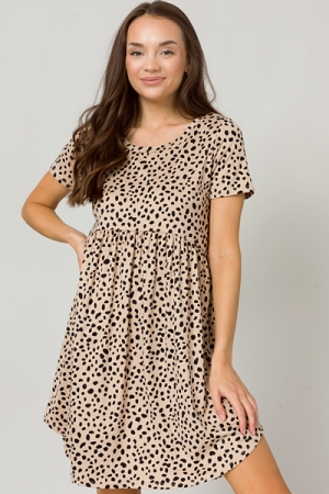 Spotted Creamy Dress, Taupe