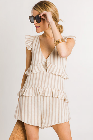 Stripes on Ruffles Romper, Tan