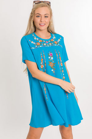 Moon Flower Dress, Turquoise