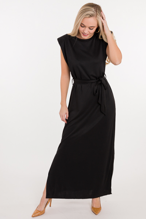 Shoulder Pad Maxi Dress, Black
