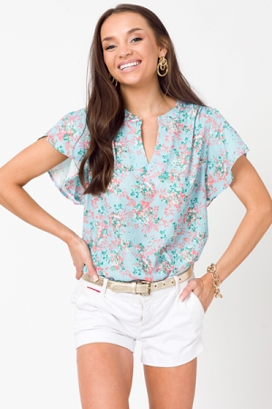 Kori Floral Blouse, Light Blue