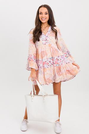 Mix Up Flowy V Dress, Blush