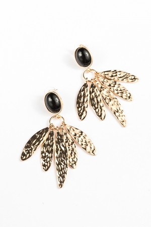 Oval & 5 Petals Earrings, Black