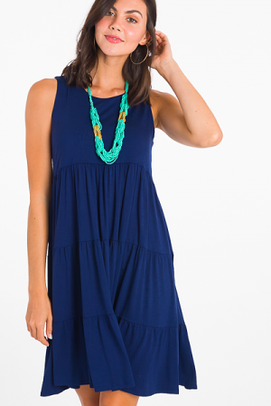 Stretchy Tiered Dress, Navy