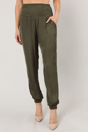 Silky Smocked Joggers, Olive