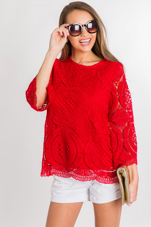 Oval Crochet Top, Red