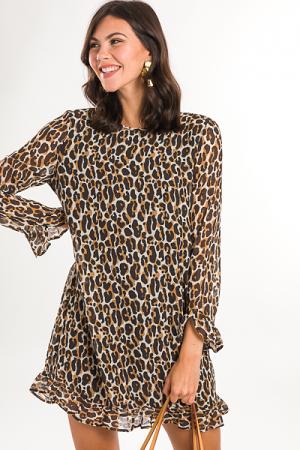 Romy Ruffle Sleeve Dress, Tan