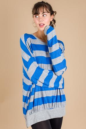 Oversized Stripe Sweatshirt, Blue