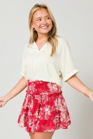 Vintage Toile Skirt, Red