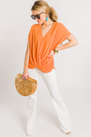 Sherbet Button Top, Tangerine