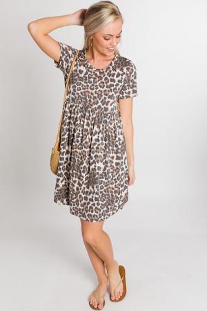 Knit Babydoll Dress, Cheetah