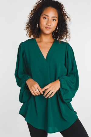 Puffy Sleeve Blouse, Hunter