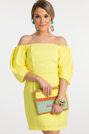 Lemon Off Shoulder Dress